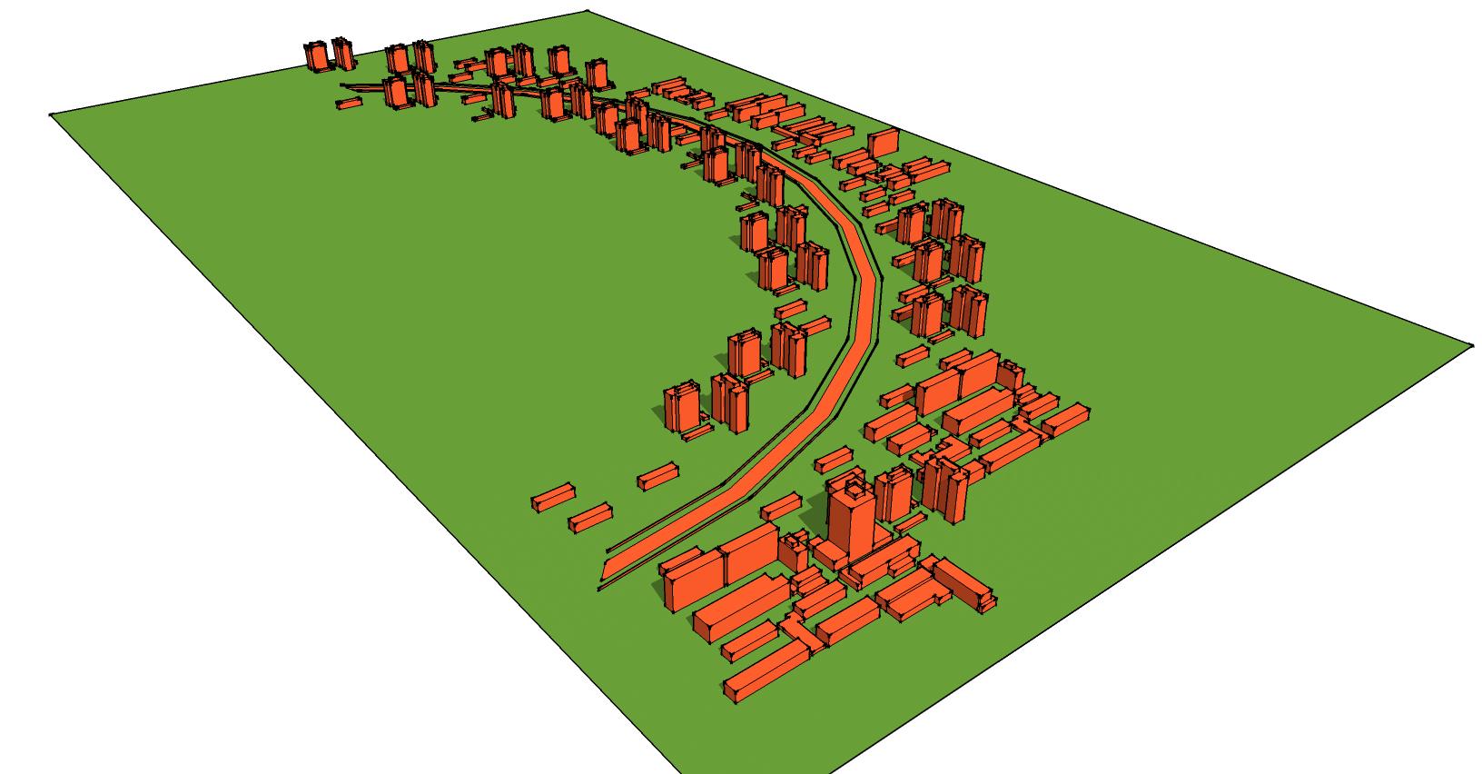 Urban curved railway